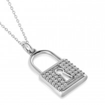 Diamond Lock Pendant Necklace 14k White Gold (0.36ct)