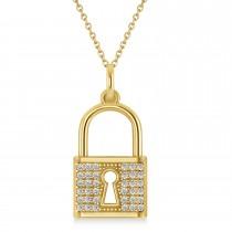 Diamond Lock Pendant Necklace 14k Yellow Gold (0.36ct)