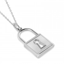 Big Plain Lock Pendant Necklace 14k White Gold