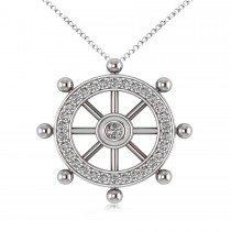 Diamond Ship's Wheel Pendant Necklace in 14k White Gold (0.50ct)
