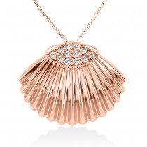 Seashell Diamond Pendant 14k Rose Gold (0.18ct)
