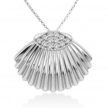 Seashell Diamond Pendant 14k White Gold (0.18ct)