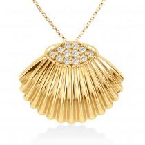 Seashell Diamond Pendant 14k Yellow Gold (0.18ct)