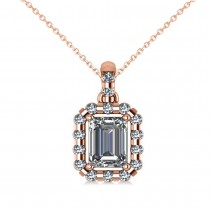 Emerald-Cut Diamond Halo Pendant Necklace 14k Rose Gold (1.30ct)