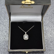 Emerald-Cut Diamond Halo Pendant Necklace 14k White Gold (1.30ct)