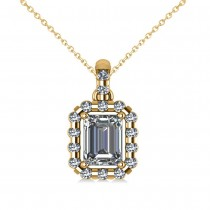 Emerald-Cut Diamond Halo Pendant Necklace 14k Yellow Gold (1.30ct)