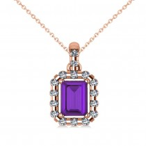 Diamond & Emerald Cut Amethyst Halo Pendant Necklace 14k Rose Gold (1.24ct)