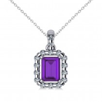 Diamond & Emerald Cut Amethyst Halo Pendant 14k White Gold (1.24ct)