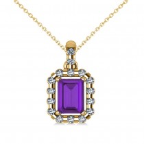Diamond & Emerald Cut Amethyst Halo Pendant Necklace 14k Yellow Gold (1.24ct)