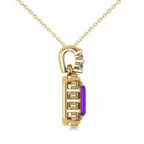 Diamond & Emerald Cut Amethyst Halo Pendant Necklace 14k Yellow Gold (1.24ct)