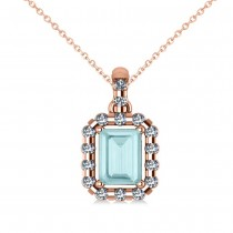 Diamond & Emerald Cut Aquamarine Halo Pendant Necklace 14k Rose Gold (1.04ct)