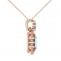 Diamond & Emerald Cut Aquamarine Halo Pendant Necklace 14k Rose Gold (1.04ct)