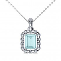 Diamond & Emerald Cut Aquamarine Halo Pendant  14k White Gold (1.04ct)