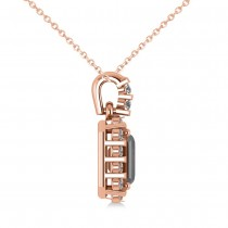Diamond & Emerald Cut Black Diamond Halo Pendant Necklace 14k Rose Gold (1.30ct)