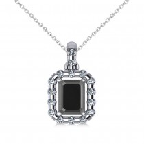 Diamond & Emerald Cut Black Diamond Halo Pendant 14k White Gold (1.30ct)