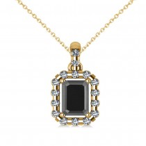 Diamond & Emerald Cut Black Diamond Halo Pendant Necklace 14k Yellow Gold (1.30ct)
