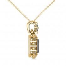 Diamond & Emerald Cut Black Diamond Halo Pendant Necklace 14k Yellow Gold (1.30ct)