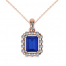 Diamond & Emerald Cut Blue Sapphire Halo Pendant Necklace 14k Rose Gold (1.39ct)