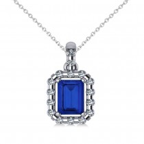 Diamond & Emerald Cut Blue Sapphire Halo Pendant 14k White Gold (1.39ct)