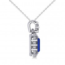 Diamond & Emerald Cut Blue Sapphire Halo Pendant 14k White Gold (1.39ct)