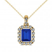 Diamond & Emerald Cut Blue Sapphire Halo Pendant Necklace 14k Yellow Gold (1.39ct)