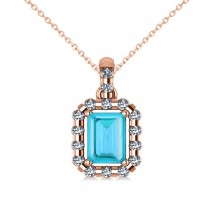 Diamond & Emerald Cut Blue Topaz Halo Pendant Necklace 14k Rose Gold (1.49ct)