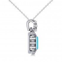 Diamond & Emerald Cut Blue Topaz Halo Pendant 14k White Gold (1.49ct)