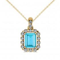Diamond & Emerald Cut Blue Topaz Halo Pendant Necklace 14k Yellow Gold (1.49ct)
