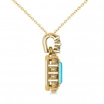 Diamond & Emerald Cut Blue Topaz Halo Pendant Necklace 14k Yellow Gold (1.49ct)