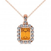 Diamond & Emerald Cut Citrine Halo Pendant Necklace 14k Rose Gold (1.24ct)