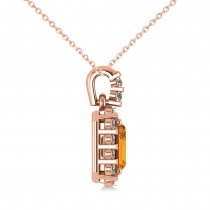 Diamond & Emerald Cut Citrine Halo Pendant Necklace 14k Rose Gold (1.24ct)
