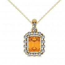 Diamond & Emerald Cut Citrine Halo Pendant Necklace 14k Yellow Gold (1.24ct)