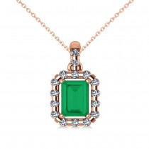 Diamond & Emerald Cut Emerald Halo Pendant Necklace 14k Rose Gold (1.14ct)