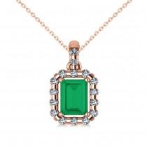 Diamond & Emerald Cut Emerald Halo Pendant Necklace 14k Rose Gold (1.14ct)