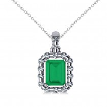 Diamond & Emerald Cut Emerald Halo Pendant14k White Gold (1.14ct)