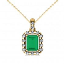 Diamond & Emerald Cut Emerald Halo Pendant Necklace 14k Yellow Gold (1.14ct)