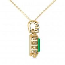 Diamond & Emerald Cut Emerald Halo Pendant Necklace 14k Yellow Gold (1.14ct)