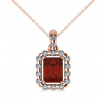 Diamond & Emerald Cut Garnet Halo Pendant Necklace 14k Rose Gold (1.44ct)