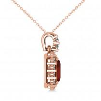 Diamond & Emerald Cut Garnet Halo Pendant Necklace 14k Rose Gold (1.44ct)
