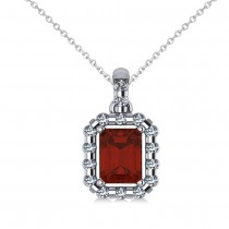 Diamond & Emerald Cut Garnet Halo Pendant 14k White Gold (1.44ct)