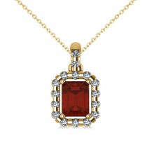 Diamond & Emerald Cut Garnet Halo Pendant Necklace 14k Yellow Gold (1.44ct)