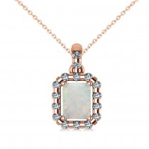 Diamond & Emerald Cut Opal Halo Pendant Necklace 14k Rose Gold (0.84ct)