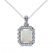 Diamond & Emerald Cut Opal Halo Pendant 14k White Gold (0.84ct)