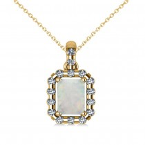 Diamond & Emerald Cut Opal Halo Pendant Necklace 14k Yellow Gold (0.84ct)