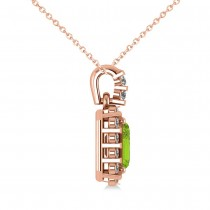Diamond & Emerald Cut Peridot Halo Pendant Necklace 14k Rose Gold (1.24ct)