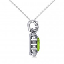 Diamond & Emerald Cut Peridot Halo Pendant 14k White Gold (1.24ct)