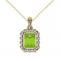 Diamond & Emerald Cut Peridot Halo Pendant Necklace 14k Yellow Gold (1.24ct)