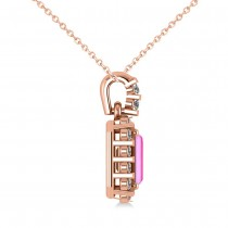 Diamond & Emerald Cut Pink Sapphire Halo Pendant Necklace 14k Rose Gold (1.39ct)