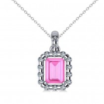 Diamond & Emerald Cut Pink Sapphire Halo Pendant 14k White Gold (1.39ct)