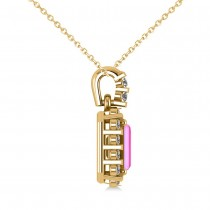 Diamond & Emerald Cut Pink Sapphire Halo Pendant Necklace 14k Yellow Gold (1.39ct)